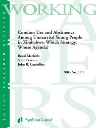 Condom Use and Abstinence Among Unmarried Young People in ...