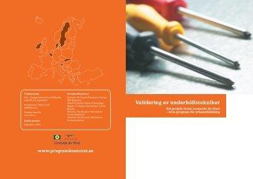 Validering av underhållstekniker - Internationella programkontoret ...