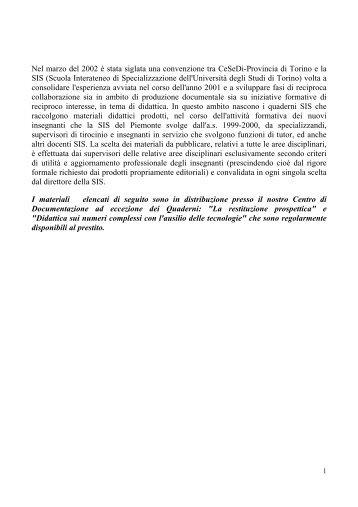 quaderni SIS - CeSeDi - Provincia di Torino