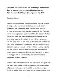 Toespraak ter gelegenheid van afscheid gedeputeerden Marc Jager