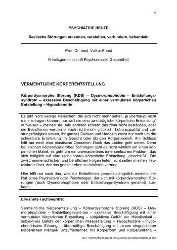 VERMEINTLICHE KÖRPERENTSTELLUNG - Arbeitsgemeinschaft ...