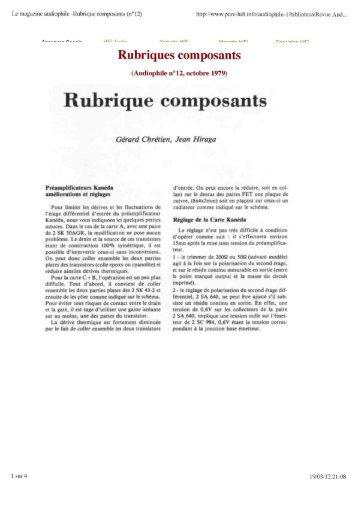 Rubrique composants - pure-hifi