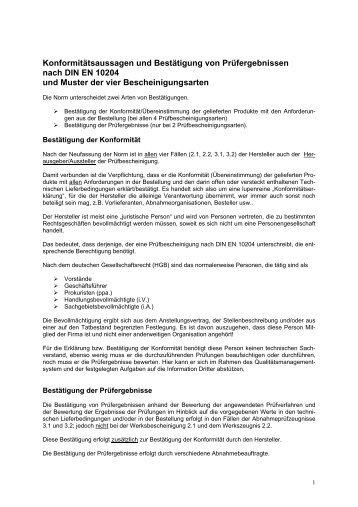 Konformitätsaussagen und Bestätigung von ... - QZ-online.de