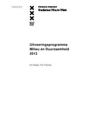 Uitvoeringsprogramma Milieu en Duurzaamheid 2012 - Deelraad ...