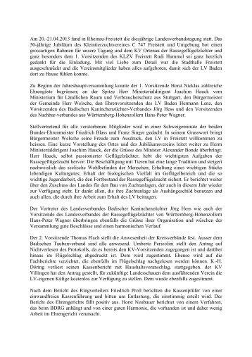 Bericht zur Landesverbandstagung 2013 - Landesverband Baden