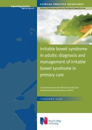 Irritable bowel syndrome in adults - Royal College of Nursing