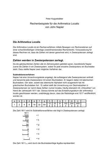 Rechenbeispiele für die Arithmetica Localis von ... - Rechnerlexikon