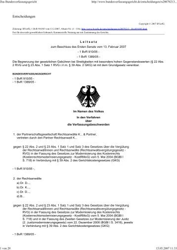 BVerfG, Beschluss vom 13.02.2007 - 1 BvR 910/05 u. BvR 1389/05 ...