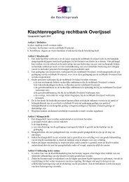 Klachtenregeling rechtbank Overijssel - Rechtspraak.nl