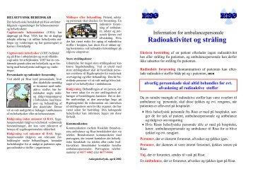Informationr for ambulancepersonale - Radioaktivitet og stråling