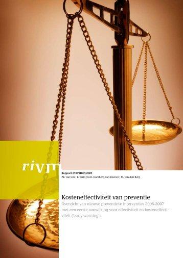 RIVM rapport 270091009 Kosteneffectiviteit van preventie
