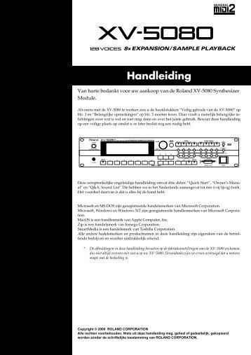 XV-5080 Gebruikers Handleiding - Roland