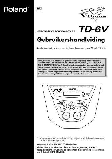 TD-6KV Gebruikers Handleiding - Roland