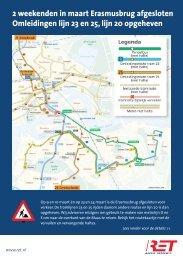 2 weekenden in maart Erasmusbrug afgesloten Omleidingen lijn 23 ...