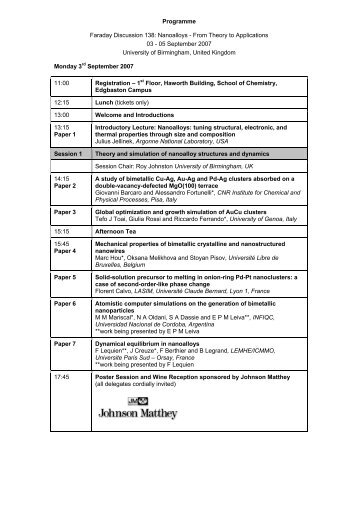 FD138 Programme