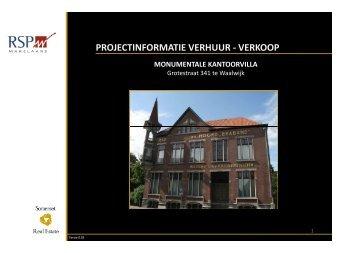 PROJECTINFORMATIE VERHUUR - VERKOOP - RSP Makelaars