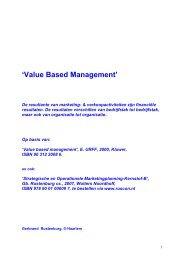 Value based managemente in marketing - Rustenburg Consultancy