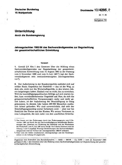 Jahresgutachten 1985/86 - Sachverständigenrat zur Begutachtung ...