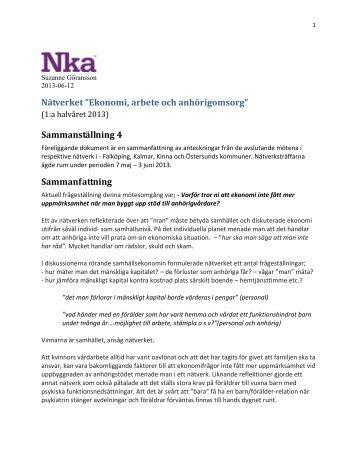 Sammanställning från fjärde mötet (pdf, nytt fönster) - Nationellt ...