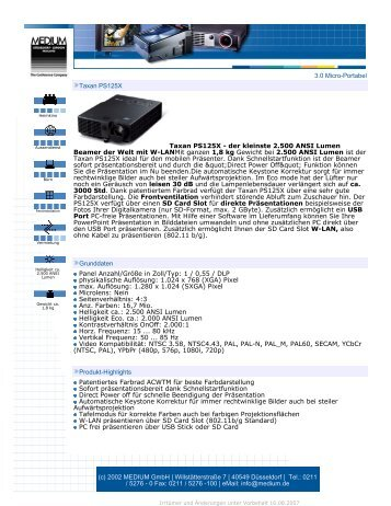 3.0 Micro-Portabel Taxan PS125X Taxan ... - Beamer-Discount