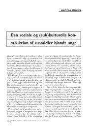 Den sociale og (sub)kulturelle kon- struktion af rusmidler blandt unge