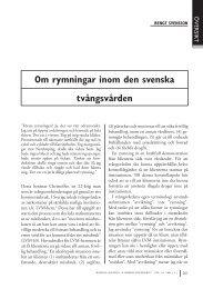 Om rymningar i den svenska tvångsvården