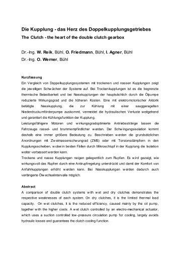 Die Kupplung - das Herz des Doppelkupplungsgetriebes: Fachvortrag