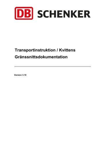 Transportinstruktion / Kvittens Gränssnittsdokumentation - Schenker