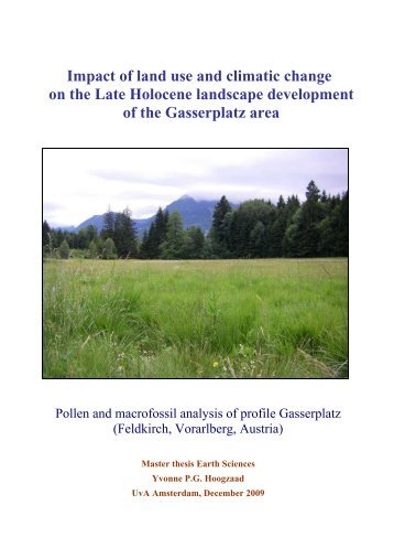 Impact of land use and climatic change on the Late Holocene ...