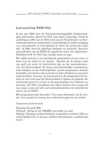 Lustrumviering WEIS/NSA - Universiteit van Amsterdam
