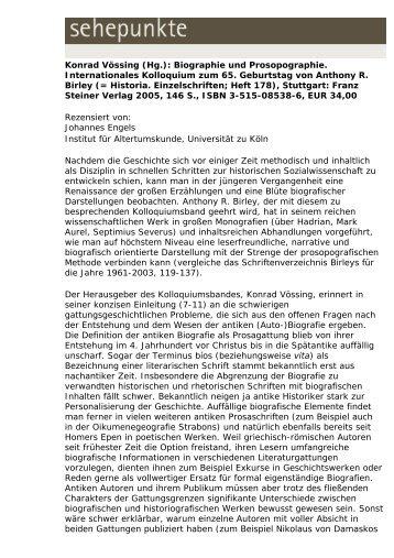 Konrad Vössing (Hg.): Biographie und ... - Sehepunkte