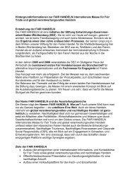 Hintergrundinformationen zur FAIR HANDELN - Stiftung ...