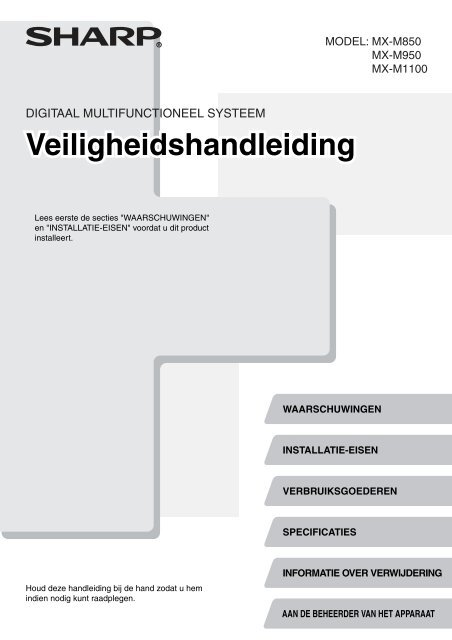 MX-M850/M950/M1100 Operation-Manual Safety-Guide NL - Sharp