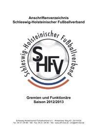 Anschriftenverzeichnis Schleswig-Holsteinischer Fußballverband ...