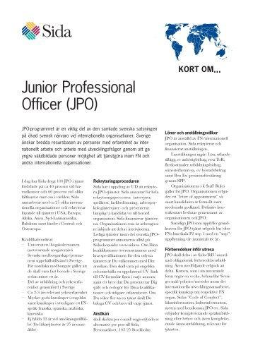 Junior Professional Officer (JPO) - Sida