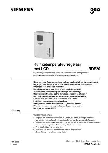 3052 Ruimtetemperatuurregelaar met LCD RDF20 - Siemens