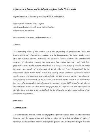 Life-course schemes and social policy reform in the Netherlands