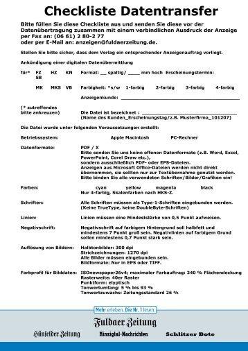 Checkliste Datentransfer - Fuldaer Zeitung