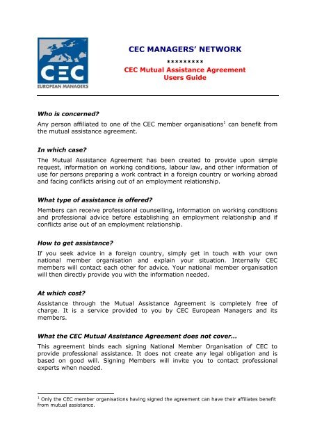 Cec Mutual Assistance Agreement Sko