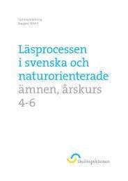 Läsprocessen i svenska och naturorienterade ... - Skolinspektionen