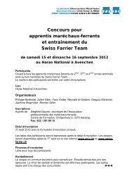 Concours pour apprentis maréchaux-ferrants et entraînement ... - SMU