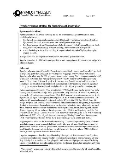Rymdstyrelsens strategi för forskning och innovation 2007-12-20