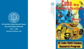 Cuba: New Research Directions - School of Social Sciences ...