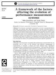 A framework of the factors affecting the evolution of performance ...