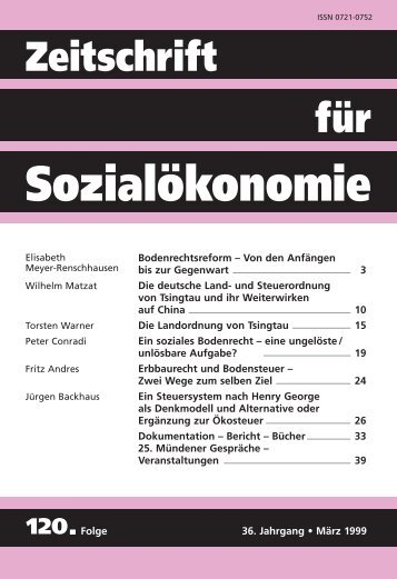 Ein soziales Bodenrecht - Zeitschrift für Sozialökonomie