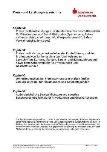 Preis- und Leistungsverzeichnis s Sparkasse Donauwörth