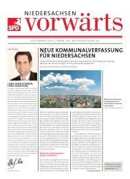 Ausgabe September 2010 des Niedersachsen-Vorwärts als pdf-Datei.