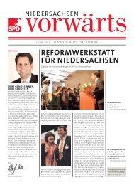 Ausgabe Juni 2010 des Niedersachsen-Vorwärts als pdf-Datei.