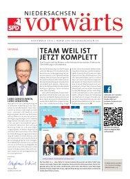 Ausgabe November 2012 des Niedersachsen-Vorwärts als pdf-Datei.