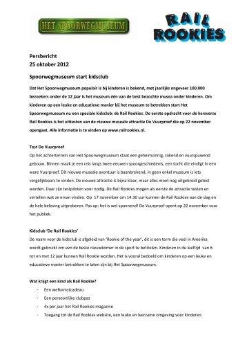 Persbericht 25 oktober 2012 Spoorwegmuseum start kidsclub - Het ...